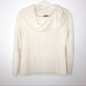 Ann Taylor Petite Off The Shoulder Cream Sweater